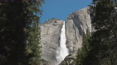 close up tilt down shot of yosemite falls in yosemite national park, california
