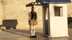 guard in everyday uniform on duty at the tomb of the unknown soldier near greek parliament in athens, greece