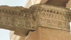 close up of architectural detail at the top of the erechthion in athens, greece