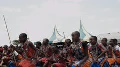 maasai boys dancing at koiyaki guide school graduation day, kenya