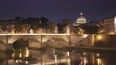 st peters basilica dome and the tiber river at night in the city of rome, italy