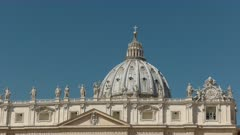 zoom in close up shot of the dome of st peter's basilica in rome, italy