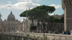 st peter's basilica and the banks of the tiber river from castel santangelo in rome