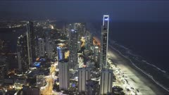 night time view to the north of surfers paradise from the Q1 building in queensland, australia