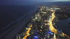 night view to the south of surfers paradise from the Q1 building in queensland, australia