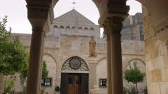 tilt down shot of the exterior of the church nativity in bethlehem