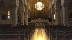 tilt down shot inside st catherine's in the church of the nativity in bethlehem