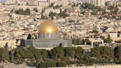 close up of dome of the rock from the mt olives in jerusalem, israel