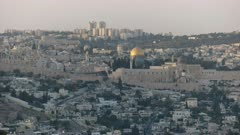 evening view of dome of the rock mosque from haas promenade in jerusalem, israel