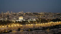 early morning shot of the temple mount and dome of the rock mosque from the mount of olives in jerusalem, israel