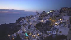 dusk at the village of oia on the popular island of santorini, greece