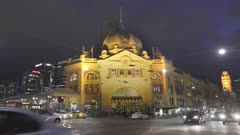 flinders street station at night in melbourne in the australian state of victoria