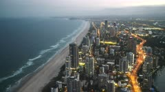 dusk panning shot of surfers paradise from the Q1 building in queensland, australia