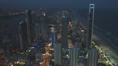panning view to the north from the Q1 building night at surfers paradise in queensland, australia