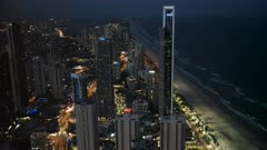 close up night view to the north of surfers paradise from the Q1 building in queensland, australia