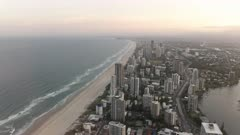 sunset view looking south of surfer paradise from Q1 building in queensland, australia