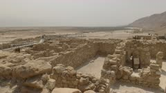 wide view of the excavated building ruins of the community at qumran near the dead sea in israel