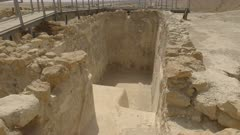 close up of the entrance to a ritual water bath at qumran near the dead sea in israel