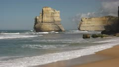 sea stack and headland at the twelve apostles from the beach at gibsons steps at port campbell on the great ocean road in victoria, australia