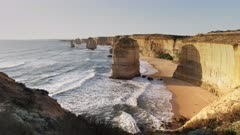 twelve apostles at sunset in port campbell on the great ocean road in victoria, australia