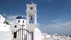 daytime exterior shot of the church of anastasi at Imerovigli, Santorini, Europe on the island of santorini, greece