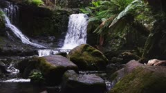dolly shot of summer flows on horseshoe falls at mt field national park, tasmania