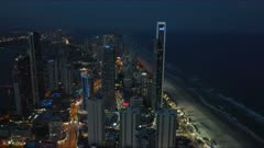 night zoom in view of surfers paradise from the Q1 building in queensland, australia