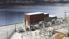 control building and transformers at the hydro electricity dam at strathgordon in tasmania