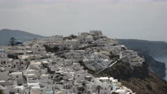 the view of fira as seen from the village of Imerovigli, Santorini, Europe on the island of santorini, greece
