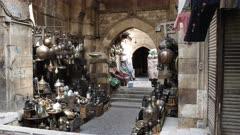 vendor stalls at khan el khalili market in cairo, egypt