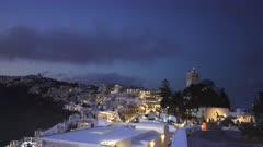 night time pan from fira to the village of Imerovigli, Santorini, Europe on the island of santorini, greece