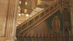 tilt up shot of the interior of the alabaster mosque in cairo, egypt