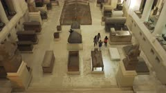 tilt up view of the interior of the museum of egyptian antiquities in cairo, egypt