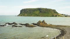 close up of the nut and a rocky point at stanley in tasmania, australia