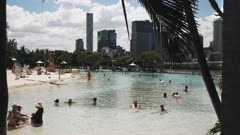 the view looking east of the beach and pool at south bank in brisbane, queensland