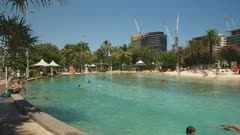 wide view of the pool and beach at south bank in brisbane, queensland