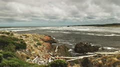 zoom in view of the arthur river mouth on the wild and rugged west coast of tasmania, australia