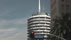 tilt up shot of capitol records building at los angeles in california, usa