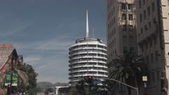 zoom in shot of exterior of the capitol records building at los angeles in california, usa