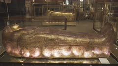 gilded sarcophagus of queen tjuya in cairo, egypt