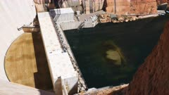 high angle view of glen canyon dam power station in page, arizona