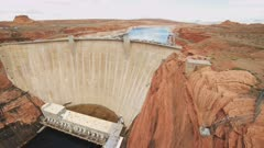 an ultra wide view of glen canyon dam and power station in page, arizona