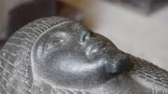close up of a granite egyptian coffin in cairo, egypt