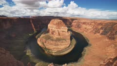 ultra wide tilt down view of horseshoe bend in glen canyon national recreation area near page, arizona
