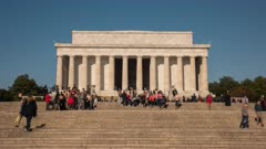 a day time lapse of visitors on the steps to the lincoln memorial in washington d.c.