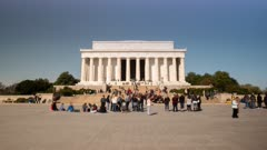 wide angle day time lapse of visitors to the lincoln memorial in washington d.c.