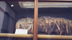 panning shot of the cloth wrapping of an egyptian mummy in cairo, egypt