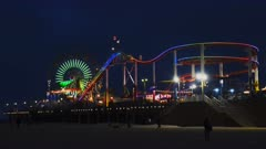 night shot of the santa monica pier at los angeles in california, usa