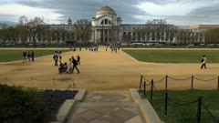a wide view, across the mall, of the smithsonian natural history museum in washington d.c.