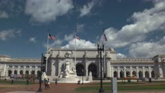 wide view of the exterior of union station in washington d.c.